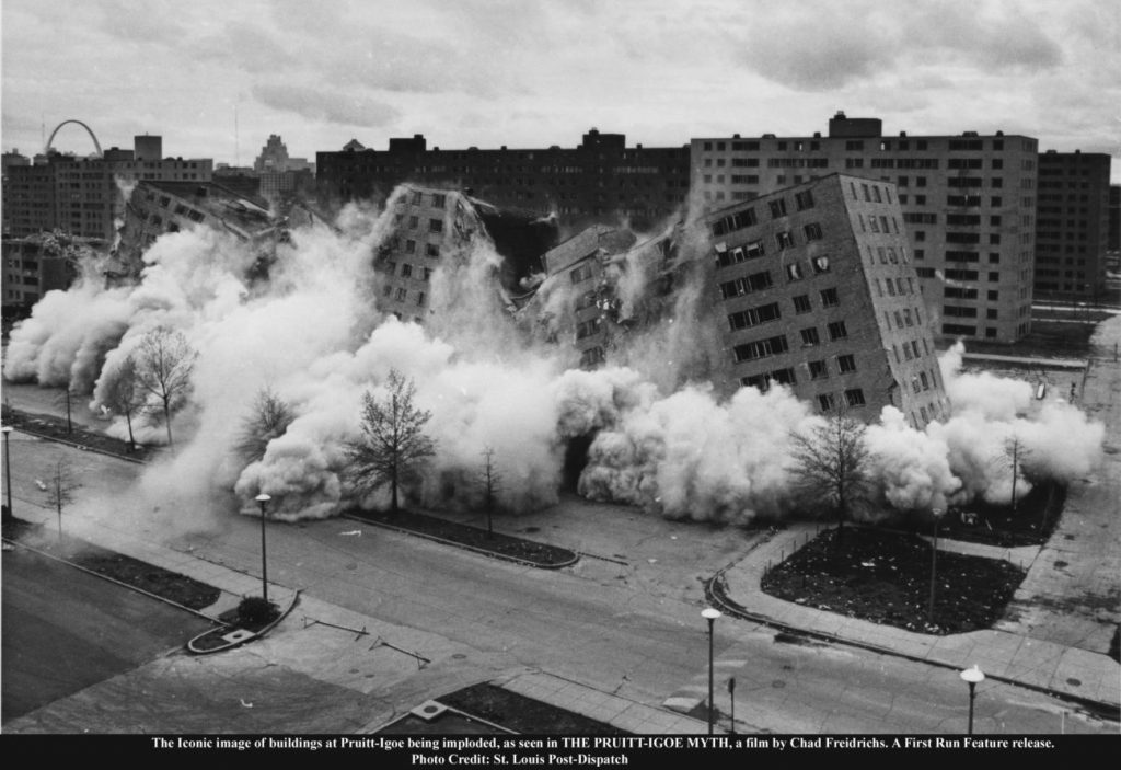 The Iconic image of buildings at Pruitt-Igoe being imploded, as seen in THE PRUITT-IGOE MYTH, a film by Chad Freidrichs. A First Run Feature release. Photo Credit: St. Louis Post-Dispatch