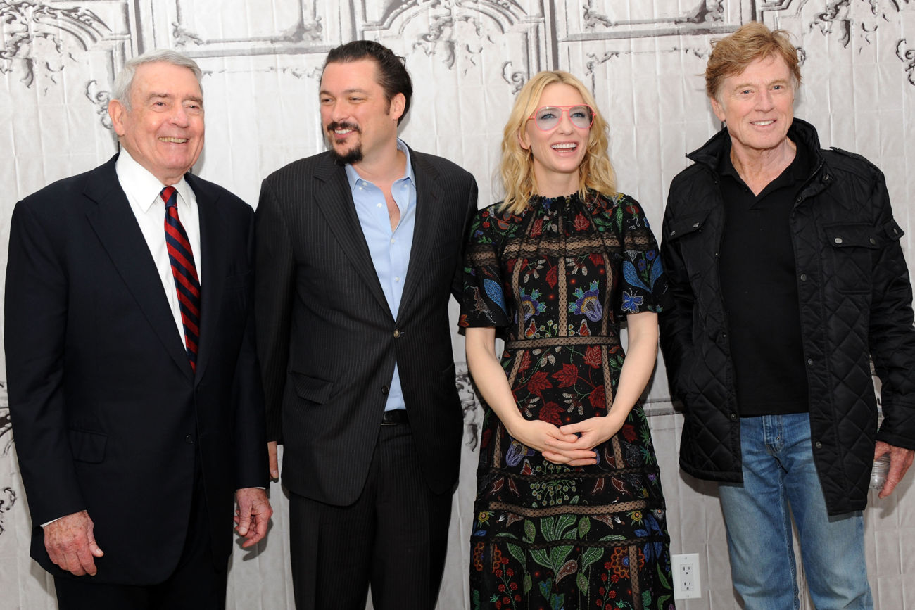 "NEW YORK, NY - OCTOBER 08:  (L-R) Journalist Dan Rather, writer/director James Vanderbilt, actress Cate Blanchett and actor/director Robert Redford attend AOL BUILD Presents James Vanderbilt, Robert Redford And Cate Blanchett ""Truth and Duty"" at AOL Studios In New York on October 8, 2015 in New York City.  (Photo by Desiree Navarro/FilmMagic)"