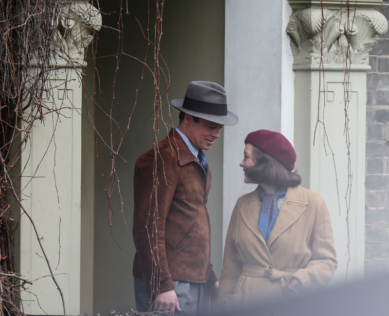 Brad Pitt and Marion Cotillard film a scene for the movie Five Seconds of Sillence in London Featuring: Brad Pitt, Marion Cotillard Where: Surrey, United Kingdom When: 31 Mar 2016 Credit: WENN.com