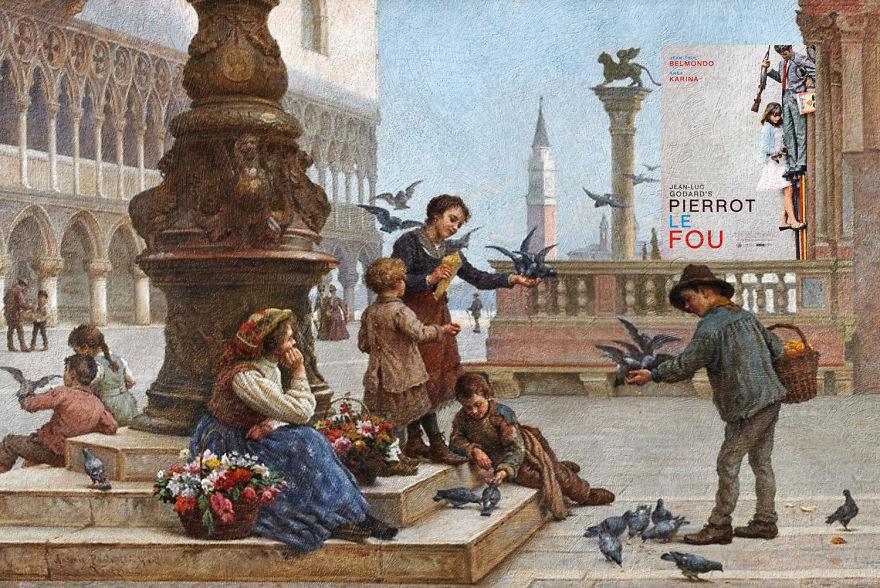 """""""Pierrot Le Fou"""" Jean-Luc Godard ve """"Feeding the pigeons"""" Antonio Ermolao Paoletti"""