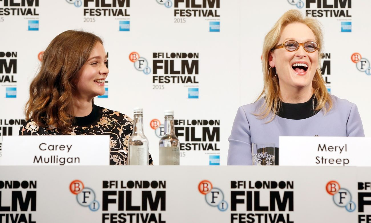 """LONDON, ENGLAND - OCTOBER 07: Actresses Carey Mulligan and Meryl Streep attend the """"Suffragette"""" press conference during the BFI London Film Festival at The Lanesborough Hotel on October 7, 2015 in London, England. (Photo by John Phillips/Getty Images for BFI)"""