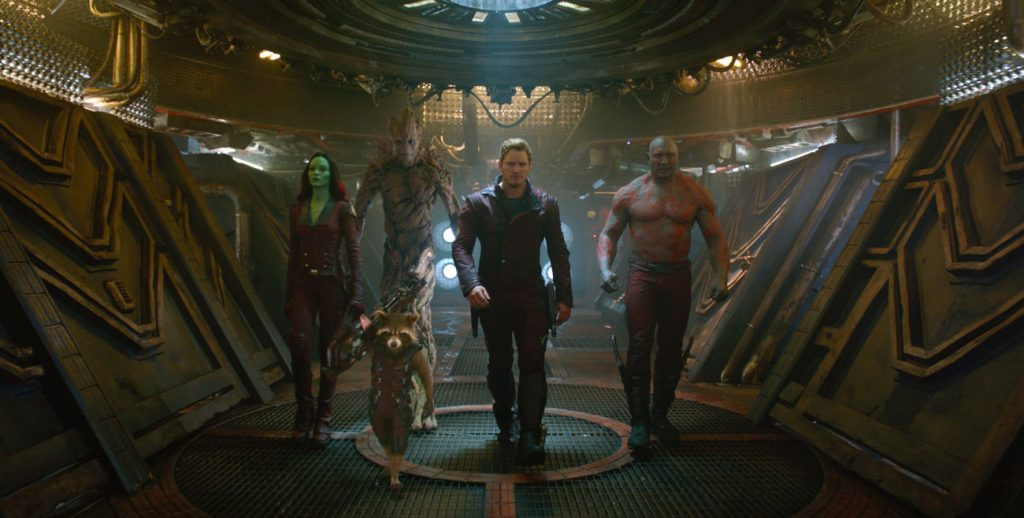 Marvel's Guardians Of The Galaxy..L to R: Gamora (Zoe Saldana), Rocket (Voiced by Bradley Cooper), Groot (Voiced by Vin Diesel), Star-Lord/Peter Quill (Chris Pratt) and Drax (Dave Bautista). ..Ph: Film Frame..©Marvel 2014